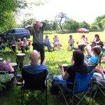 Drumming circle at Stonewylde Moongazy Camp 2014